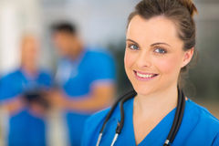Female healthcare worker. Beautiful young female healthcare worker in hospital Stock Photos