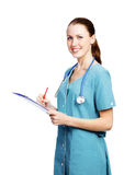 Female healthcare worker smiling to you Stock Image