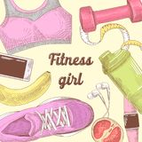 Female Healthy Lifestyle Hand Drawn Doodle. Fitness Elements Set.   Royalty Free Stock Photography