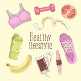 Female Healthy Lifestyle Hand Drawn Doodle. Fitness Elements Set.  Royalty Free Stock Photos