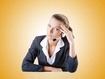 Female helpdesk operator on white Royalty Free Stock Image