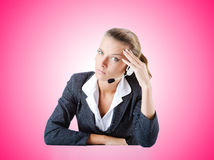 Female helpdesk operator on white Royalty Free Stock Image