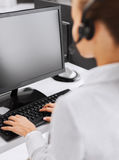 Female helpline operator Stock Photo