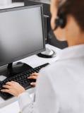 Female helpline operator Stock Photo