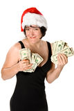 Female and her cash Stock Photos