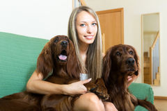 Female with her pets Stock Photos