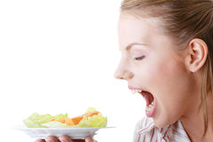 Female and her salad Royalty Free Stock Photo