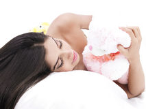 A female with her teddy bear Royalty Free Stock Photo