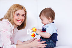 Female and her toddler son Stock Images