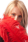 Female hiding her face with red feather, isolated. Female hiding her face  with red ostrich feather, isolated Stock Image