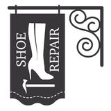 Female high-heeled boots, shoe hammer, shoe repair. Signboard, shop sign. Vector illustration Royalty Free Stock Images