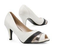 Female high heeled shoes. Over white background Royalty Free Stock Photo