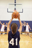 Female High School Basketball Player Shooting Basket Royalty Free Stock Photos