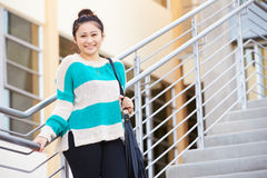 Female High School Student Standing Outside Building Royalty Free Stock Photo