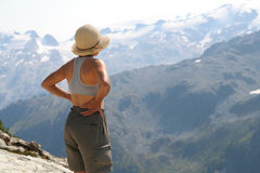 Female Hiker Above Callaghan Valley. Woman standing above Callaghan Valley. British Columbia Royalty Free Stock Image