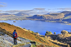 Female Hiker above Derwent Water Stock Images
