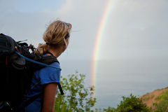 Female Hiker Admiring a Rainbow Royalty Free Stock Photography