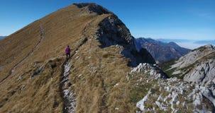 Female hiker ascending towards peak. stock footage