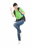 Female hiker with backpack giving a thumb up Stock Photos