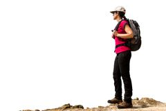 Female hiker with backpack isolated. Royalty Free Stock Image