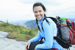 Female hiker with backpack Royalty Free Stock Photography