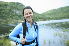 Female hiker with backpack Stock Image