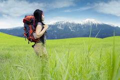 Female hiker with bag walks in the meadow Stock Images