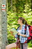 Female hiker checking the map and blaze Stock Photos