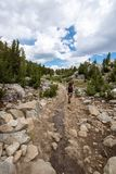 Female hiker concentrates while hiking on a dowhill slope in the Eastern Sierra Nevada mountains in the Little Lakes Valley trail stock images