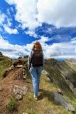 Female hiker on Dolomites Stock Image