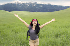 Female hiker enjoy fresh air on the hill Royalty Free Stock Photos