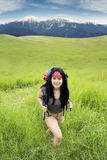 Female hiker exploring the mountain Stock Photography