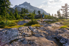 Female hiker great outdoors royalty free stock photos