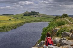 Female Hiker on Hadrian's Wall Royalty Free Stock Photo