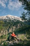 Female hiker having rest on the Lycian way to Tahtali, Turkey Royalty Free Stock Photography