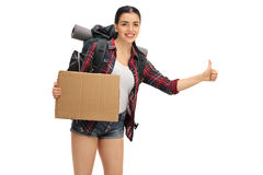 Female hiker hitchhiking and holding blank cardboard sign Royalty Free Stock Images