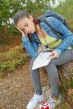 Female hiker holding head in disbelief Stock Photography
