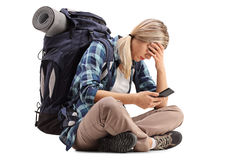 Free Female Hiker Holding Her Head In Disbelief Stock Photography - 83246022