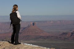 Female Hiker Looking Out Over A Canyon Stock Images