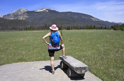 Female hiker looks at view Royalty Free Stock Image