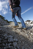 Female hiker motion blur Royalty Free Stock Image