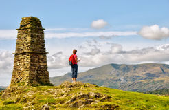 Female hiker on mountain summit. A Female hiker standing on the  summit of Latterbarrow in the English Lake District National Park Stock Image