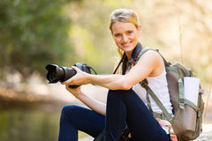 Female hiker mountain valley Royalty Free Stock Images