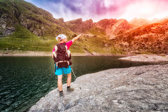 Female hiker in the mountains Stock Photo