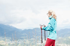 Female hiker in mountains Royalty Free Stock Photo