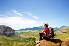 Female hiker in mountains. Stock Images