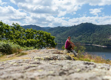 Female hiker overlooking Thirlmere Royalty Free Stock Photo