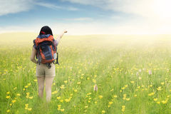 Female hiker pointing on meadow Royalty Free Stock Photos