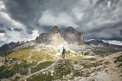 Woman near Tre Cime di Lavaredo royalty free stock photography