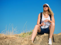 Female hiker resting. Stock Photography